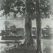 un banc sous les arbres