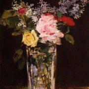 vase de fleurs roses et lilas